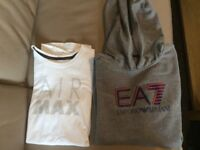 Air max Nike white t-shirt age 13 & Armani grey hoodie age 13