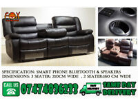 Smart recliner sofa with bluetooth aux speaker,and cupholder d