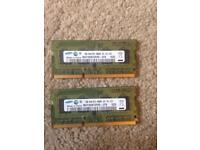 2 x Used Samsung 1GB DDR3 PC3-8500S Memory