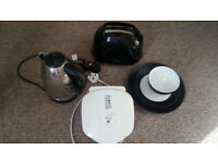 Kitchen Set (metal kettle, toaster, George Foreman grilling machine and M&S plate set)