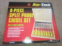 Am-tech chisel set in wooden box
