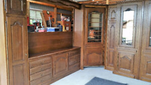 Solid Oak hand crafted wall system with Murphy Bed
