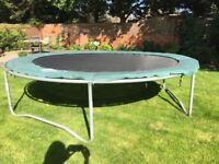 Trampoline 10ft, a bargain at £15, including green padding surround.