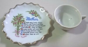 Vintage Porcelain Miniature Cup and Saucer with Mother Poem