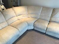 Cream fabric corner reclining sofa seats 5 offers please