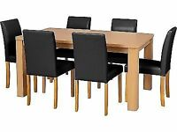 Swanley 150cm Oak Stain Table & 6 Chocolate Midback Chairs