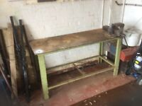 All metal work bench with vice.