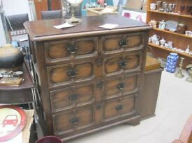 VINTAGE VERY ORNATE CHEST OF DRAWERS. '2 OVER 3' DEEP DOVE-TAILED DRAWERS. VIEW/DELIVERY AVAILABLE