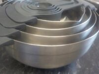 JOSEPH JOSEPH NESTING BRUSHED STAINLESS STEEL BOWLS 9 piece