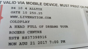 COLDPLAY August 21st Toronto FLOOR SEATS