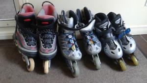 3 pairs de patins à roues alignées