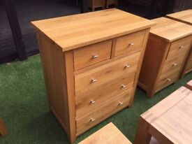 2x Solid oak large chest of drawers