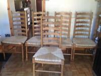 5 Rubberwood & wicker dining chairs from John Lewis