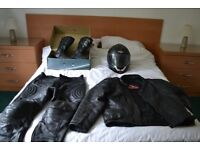 Bikers Leather good qluality Jacket, Trousers, Boot and Helmet