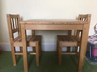 Kids wooden chairs and table