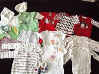 Bundle of 0-3 months unisex baby clothes - new and used.