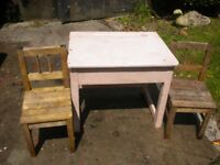 Childs desk and two chairs
