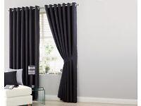 """Black Medium Faux Silk Curtain (L66 x W72"""") (NEW)"""