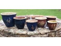 2 sets of ceramic garden pots
