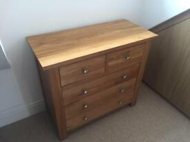 Solid Oak 5 Drawer Chest of Drawers