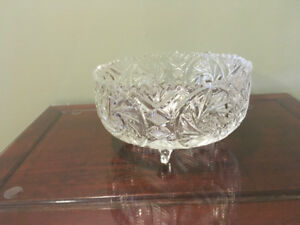 Large, Extremely Heavy Lead Crystal Bowl on legs- SOLD PPU