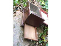 georgian mahogany tea caddy box, secret drawer.