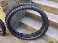 pair of 26 x 2.125 mountain bike tyres , ( part worn) , plus tubes