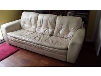 Cream Real Leather Sofa