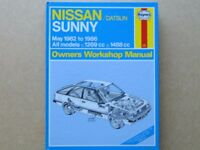 NISSAN/Datsun SUNNY HAYNES OWNERS WORKSHOP MANUAL- 1982 to 1986(All models:1269cc & 1488cc) Hardback