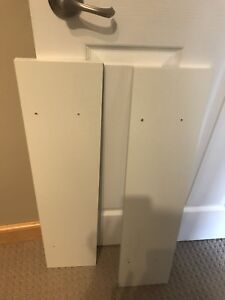 2 shelves with red brackets
