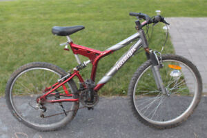 Adult Raleigh Mountain Bike with dual shocks, single speed