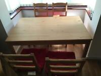Dinning table with 4 chairs (including cushions)