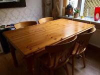 Pine Dining Kitchen Table Plus 4 Chairs