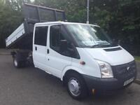 2014 Ford Transit 350 LWB crewcab tipper with rear tool storage conversion