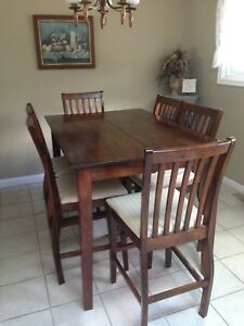 Pub height dining table and 6 chairs