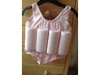 Pink and white 1-2 years girls float swim suit