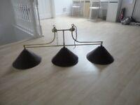 Triple hanging Pool table lights