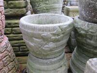 small round stone/concrete garden pot/planter - barrel style design - Andy's Yard