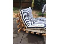 Wooden futon with mattress