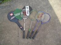 Badminton rackets, various makes, some with covers
