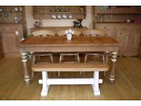 Farmhouse rustic solid waxed pine table with hardwood bench,3 fiddleback chairs