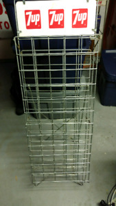 7up bottle rack with sign