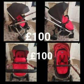 chicco urban in red and black