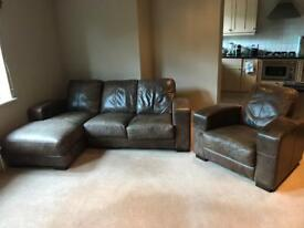 Leather Three seat and Armchair £50 (Collection Only & Offers welcome)
