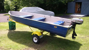 14 ft. Aluminum Boat with Motor and Trailer