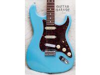 Fender Stratocaster Solid Swamp Ash Hardtail Daphne Blue Nitro guitar - USA neck
