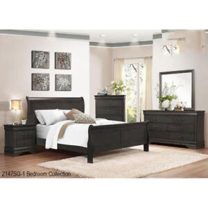Brand New Grey Solidwood Queen Bed Frame