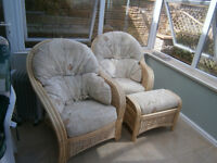 CONSERVATORY SUITE PAIR OF ARMCHAIRS , TABLE & FOOTSTOOL IN YEOVIL
