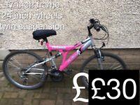 Kids, teen mountain bikes 24 inch wheels teen male female £25 - £30 bike