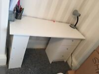 WHITE MALIBU DRESSING TABLE/DESK & LEATHER CHAIR